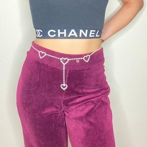 VINTAGE PLUM VELOUR LARGE TRACK PANTS